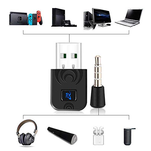 OOOUSE Kabelloser Adapter für PS4 / 4.0 EDR Receiver Wireless Transfer Dongle Receiver USB Adapter für PS4 PC Wireless Headset