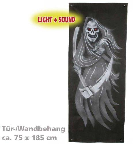 Halloween Günstige Ideen Beängstigend Kostüm (Halloween Türdeko, ca. 75 x 185 cm, mit Licht und Sound, Halloween,)