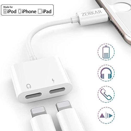 ZERKAR Adaptador de Auriculares Phone 2 en 1 Auriculares Jack Adaptador Música & Carga & Llamada Compatible con Phone X/8/7/6/Pad/Pod Blanco