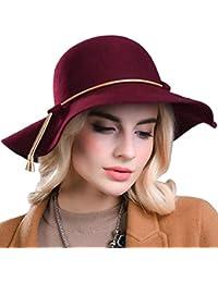 Sombreros Sombrero De Campana Señoras Elegante ala Ancha Otoño De Bastante Invierno  Moda Exquisito Estilo Moderno Sombrero para El… e24fc01a68c