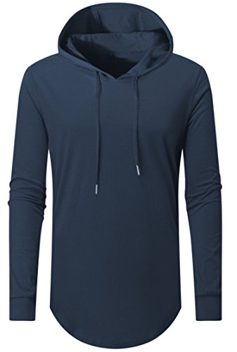 AIYINO Mens Hipster Hip Hop Long Sleeve Longline Pullover Hoodies Shirts  (UK Size L b9ef7d20fb7c2