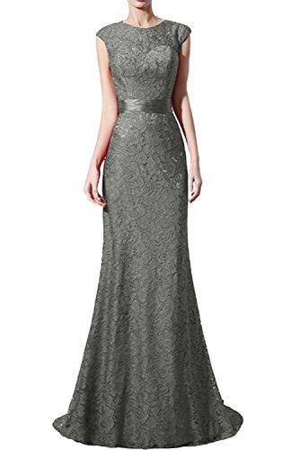 Missdressy Elegant Etui Schleppe Aermellos Satin Spitze Abendkleider Brautjungfernkleider Silber