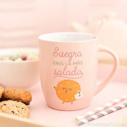 "Mr. Wonderful WOA03786ES - Taza ""Suegra, Eres La Mas Salada"", color rosa"