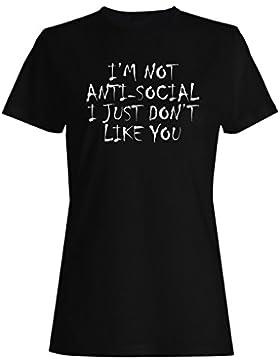 No soy antisocial simplemente no me gusta camiseta de las mujeres ii44f