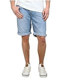 98-86 Herren Jeans Bermuda Kurze Hose Denim im Used Look mit Aufschlag