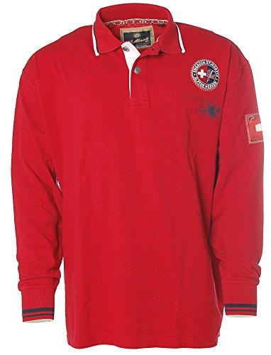 St. Moritz Herren Langarm Shirt Poloshirt Polokragen Pikee Alpine Heaven True Red