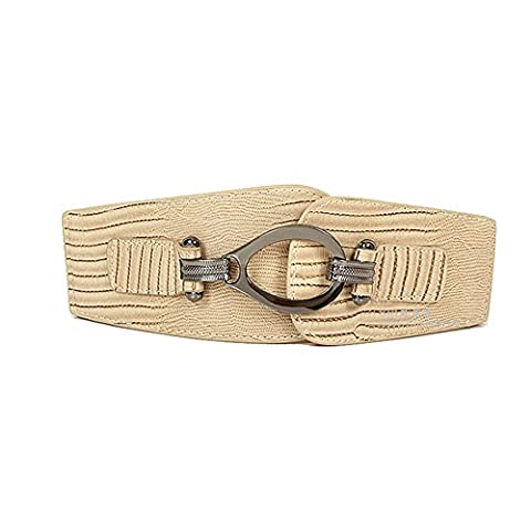 Women's Fashion Vintage Wide Elastic Stretch Waist Belt Waistband Clothing Decoration (Khaki)