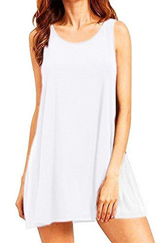 OMZIN Damen T-Shirtkleid Ohne Arm Vest Kleid Rund Ausschnitt Tägershirt Weiß L