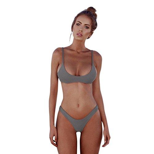 Bikini Damen Yesmile Frauen Bademode Push-Up Gepolsterter BH Bandage Bikini Set Badeanzug Bauchweg Bademode Baden Swimsuit Swimwear (M, Grau) (Auf Halbem Weg Punkt)