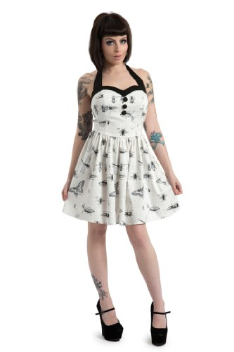 Jawbreaker Butterfly INSECTS Pin Up NECKHOLDER Dress / KLEID Rockabilly Weiß / Schwarz / Grau