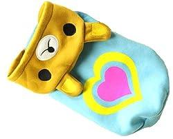 Demarkt Fashion Dog Cat Puppy Fleece Double Heart Print Bear Shaped Hoodie Costume Clothes Pet Apparel Superdog Dress Up Pet Supplies (XXL, Blue)