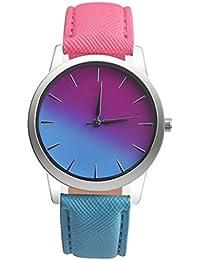 Goodsatar Retro Rainbow Design Faux Leather Band Analog Alloy Quartz Wrist Watch Mujeres, Hombre (A)