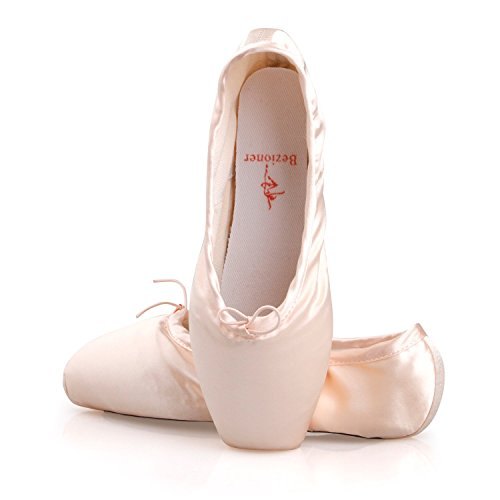 Ballet Pointe zapatos para chicas/mujeres en rosa con Ballet newowner dedo almohadillas y cintas Rosa rosa claro Talla:2 (Reino Unido) dOm960ti