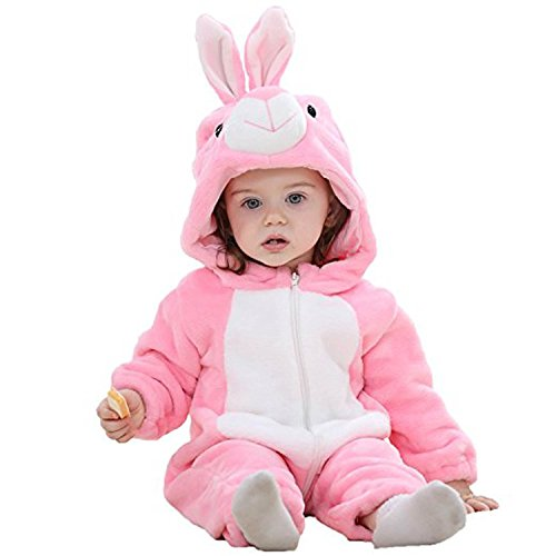 BabyPreg Unisex Baby Tier Halloween Kostüme Hooded Flanell Spielanzug Outfits (90cm / 12-18 Monate, Hase) (Baby Mädchen Halloween Kostüme 12 18 Monate)