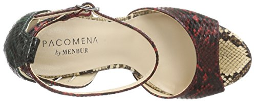 Paco Mena - Aloe, Scarpe col tacco con cinturino a T Donna Multicolore (Mehrfarbig (Multi Schwarz/Rot Beige))