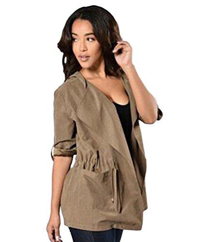 YiLianDa Manteaux Femmes Décontractée Cardigan Tops Cover Up Blouse Veste Parka Outwear avec Capuche Vert