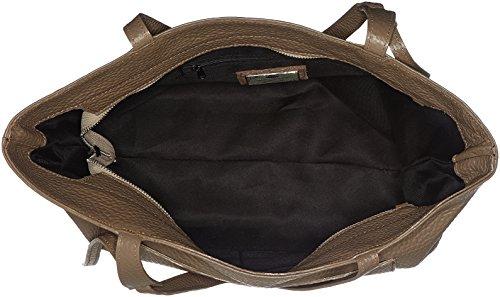 Chicca Borse Damen 8894 Schultertasche, 45x35x10 cm Beige (Taupe)