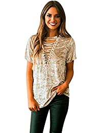 LHWY Bluse Damen Elegant, Frauen Fashion Lace Up T-Shirt Kurzarm Lose Tops  Casual Blusen Straps Hohlen Samt Custome Sommer Teens… d2a702aac0