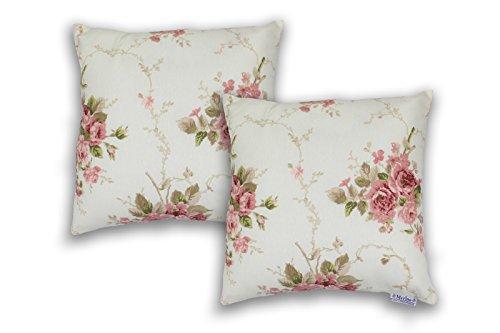 2er Set Kissen Dekokissen 40 x 40 cm Blumen Model Rosen Pink mit Reißverschluss