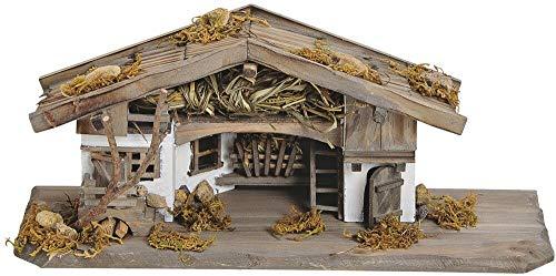 matches21 Krippe Weihnachtskrippe Stall Holz/Echtholz alpenländisch traditionell braun/weiß liebevolle Details 33x13x13 cm