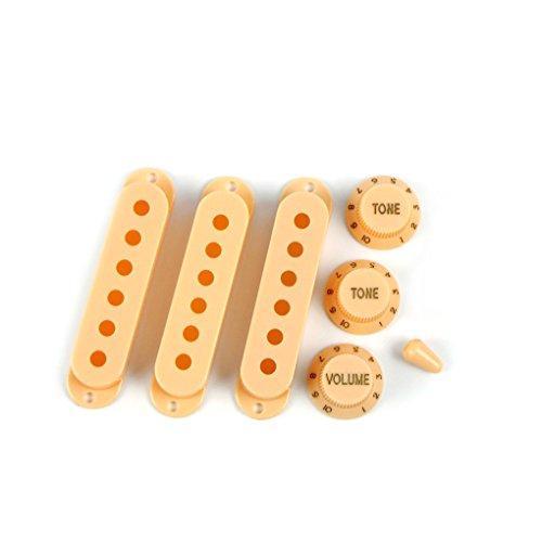 FLEOR Gitarre Teil geschlossen Stil Pickup-Kappen mit 2t1V Kontrolle Toggle Switch Tip 6bar Spitze 50/52/52mm cremefarben -