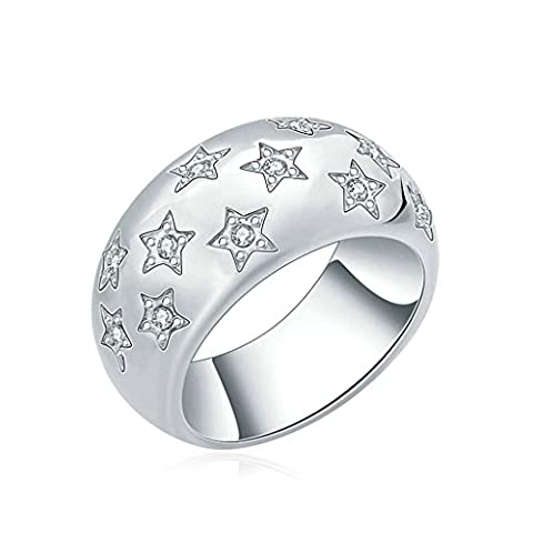 Daesar Gold Plated Rings Womens Wedding Ring Modern Star Pattern Cubic Zirconia Ring Silver Rings Size:N
