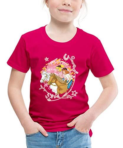 Spreadshirt Bibi Und Tina Wettreiten Im Wald Kinder Premium T-Shirt, 134/140 (8 Jahre), Dunkles Pink