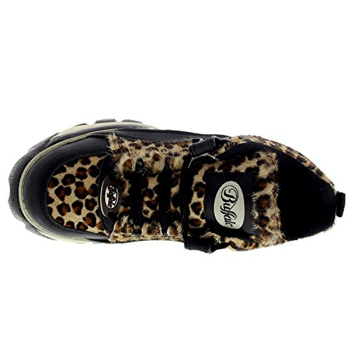 Buffalo Womens 1339-14 Vacca Leopard Leather Shoes Multi