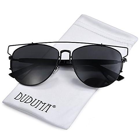 Duduma Polarised Fashion Aviator Sunglasses with Full Metal Crossbar Frame for Women and Men 8027 (Nero Piano Telaio)