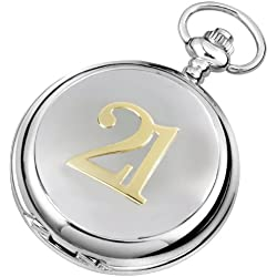 Mechanical Pocket Watch-21st Birthday - with chain, presentation case & warranty