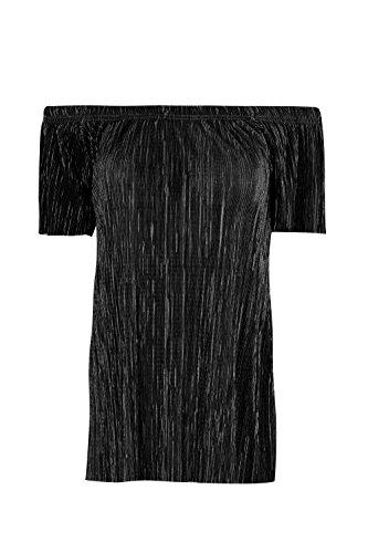 Oops Outlet Damen Plissiert Stoffe Schulterfrei Schräger Halsausschnitt Bardot Kappe Hülse T Shirt Spitze Schwarz