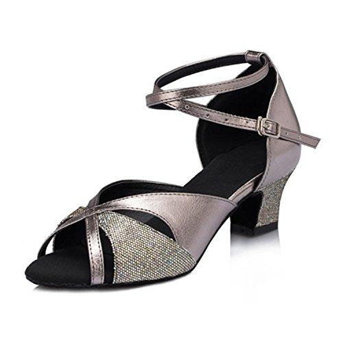YFF Dono donne scarpe da ballo sala da ballo latino ballare il tango scarpe da ballo 5CM Gray