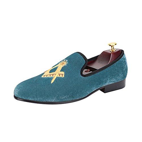 Homme Mocassins Mode Velours à Enfiler Elégant Chaussures Soirée Mariage Bleu ciel
