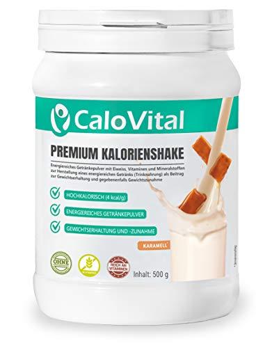 Trinknahrung hochkalorisch für Gewichtszunahme   Kohlenhydrate & Eiweiß als Kalorien Shake   Hochdosiert mit vielen Vitaminen   CaloVital - Premium Qualität aus Deutschland (Karamell 500g)
