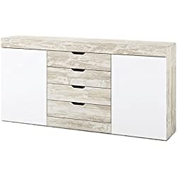 Mobelcenter - Aparador Logan - Blanco y Vintage - 180 x 39,8 x 90 cm ¡¡ PORTES GRATIS !! Ref 0771
