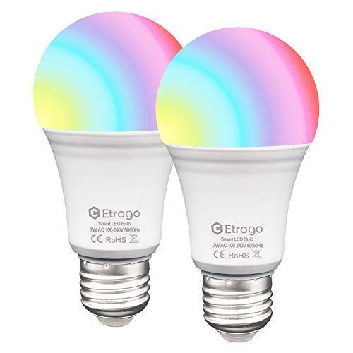 Lampadina Colorata, E27 LED WIFI RGB +Bianco Freddo 6000K 7W 650Lm Equivalenti a 60W Compatibile con Amazon Alexa e Google Home Equivalente a 60W 2 Pezzi