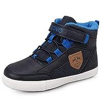 UOVO Boys Winter Boots Unisex Kids Trainers Fashion Girls Mid-top Walking Shoes Fleece Lining Blue Size 2UK
