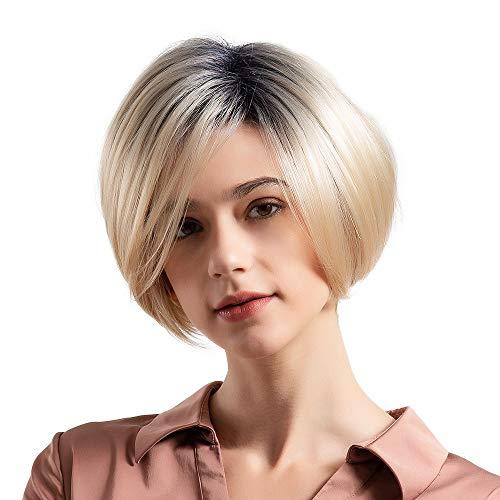 HCFKJ 2019 Synthetische Kurze Bobo gerade 50% natürliche Haar Perücke für Frauen Trendy Gradient Perücke (Gentel)