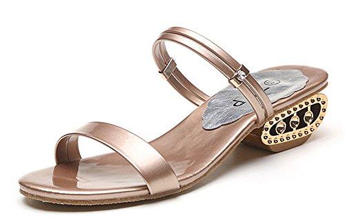 Tomsent 2017 Sommer Damen Strand Sandalen Pantoffeln Peep Toe Flip Flops Sandaletten 2 Arten von Tragen Stile Champagner EU 36 (Natur Classic Thong)