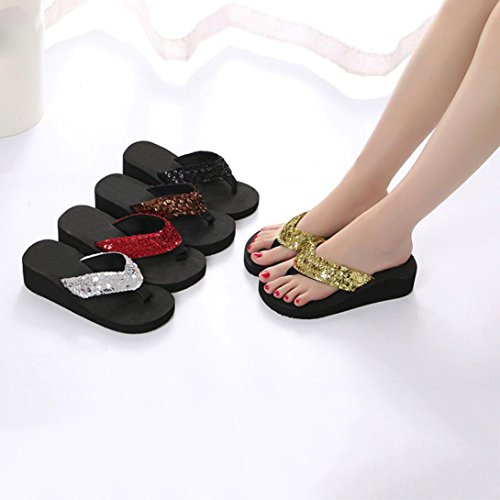 FALAIDUO Women's Summer Sequins Anti-Slip T-Bar Shoes Sandals Slipper Wedge Clip Slides Indoor & Outdoor Flip Flops