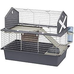 Ferplast Cage spacieuse pour Lapins Barn 80 Maison pour Petits Animaux, aménagement félin, Toit ouvrant, Accessoires et Autocollants Inclus, 78 x 48 x h 65 cm, Rouge