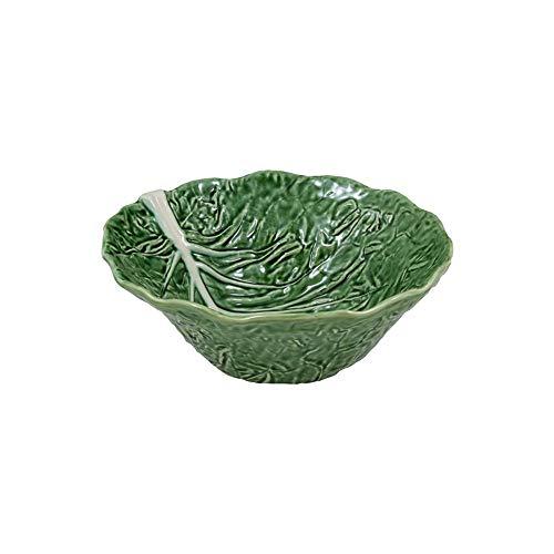 Bordallo Pinheiro - Cuenco para servir ensalada de hojas de cabina de color verde, mayólica