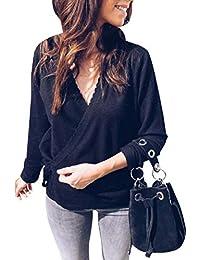 Pull Femme Col V Cache Cœur à Manches Longues Sweater en Tricot Fine Maille  Couleur Uni 23216906360c