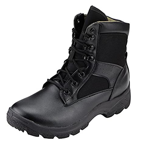 aiyuda Herren Military Tactical Combat Stiefel, wasserdicht, Outdoor Jungle Boot Schwarz Leder, Herren, schwarz, UK 7.5/EU 44