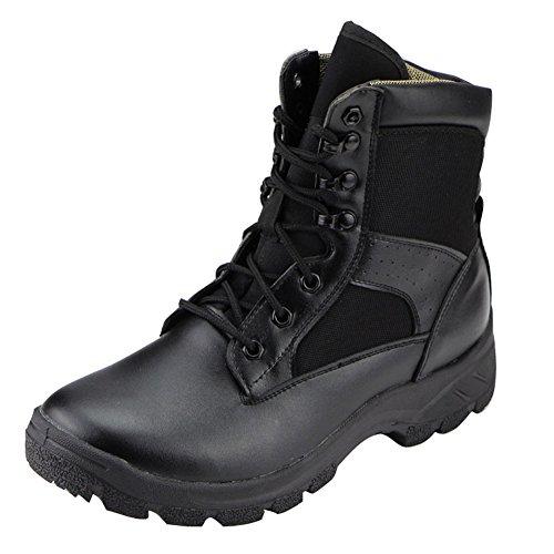 Aiyuda Herren Military Tactical Combat Stiefel, wasserdicht, Outdoor Jungle Boot Schwarz Leder, Herren, schwarz
