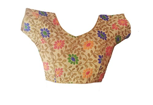 Saptashri Silk Padded Blouse designed Phulkari Resham thread work .Multicolor