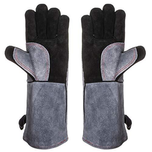 chuhe Leder, Backhandschuhe Grillhandschuhe 1 Paar Rindsleder Arbeit Handschuhe mit Aufhängung, Topflappen für Küche und Grill Grillplatz Mikrowelle Schweißen Handschuhe ()