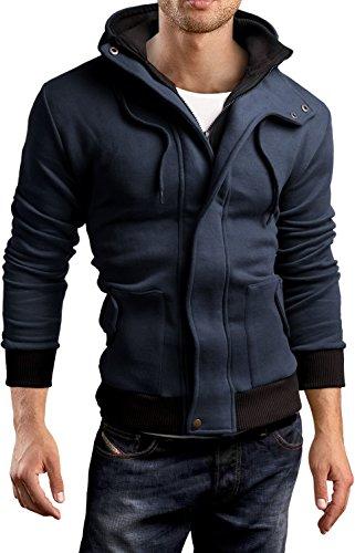 Tragen Navy Jumper (Grin&Bear Kontrast Kapuzenpullover Jacke Hoodie Sweatshirt, Navy, L, GEC407)