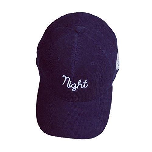 Rawdah mujeres hombres par bordado carta noche Gorra unisex hip hop plana Snapback Hat (Azul marino)