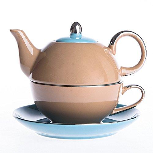 Artvigor Tea for One, 3-teilig Kaffee Tee Set, Beinhaltet Kanne 400 ml, Tasse 250 ml, Untertasse,...